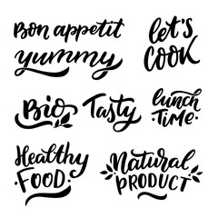 Hand drawn lettering set for food blogers with words bon appetit, yummy, let's cook, bio, tasty, lunch time, healthy food, natural product for stickers, banners, foto overlay, logo, packaging.