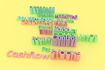 Illustrations of CGI typography, finance related, keywords for graphic design or wallpapers. Colorful 3D rendering.