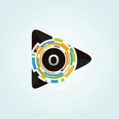 Pixel Play Media O Letter Logo