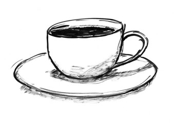 Black brush and ink artistic rough hand drawing of cup of hot coffee.