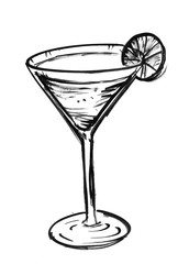Black brush and ink artistic rough hand drawing of glass with cocktail drink and lime or lemon slice.
