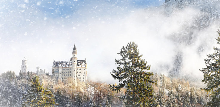 Splendid scene of royal castle Neuschwanstein and surrounding area in Bavaria, Germany (Deutschland).