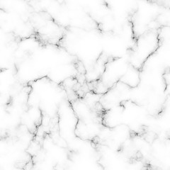 Seamless Marble Vector Texture. Realistic White Marble with Black Veins Repeating Pattern. Elegant Background. Square Tile.