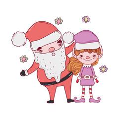 cute christmas santa claus with helper