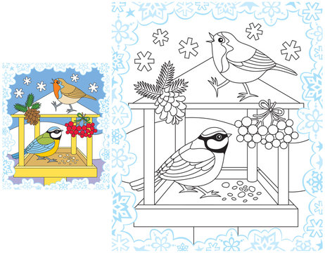 Snowflakes coloring pages winter birds feeder