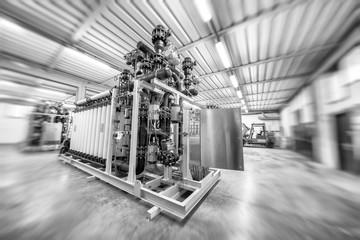 Gas pipelines inside industrial warehouse