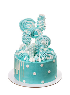 Delicious cake for the holiday of candy, color sea green.