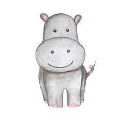 Hand draw watercolor illustration hippo isolated