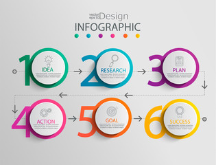 Paper infographic template with 6 circle options for presentation and data visualization. Business process chart.Diagram with six steps to success.For content,flowchart, workflow.Vector illustration