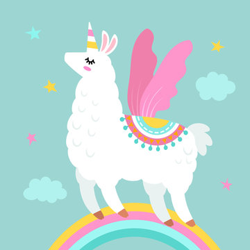 Funny llama alpaca in the image of a unicorn with wings and a horn in the cartoon style are isolated. flat vector illustration