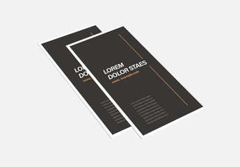 Black and White Trifold Brochure Layout with Orange Accents