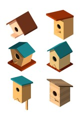 Set of volumetric birdhouses in isometric style on a white background House for the birds. Caring for nature and fauna Design of various birdhouses Vector illustration of a collection of nesting boxes