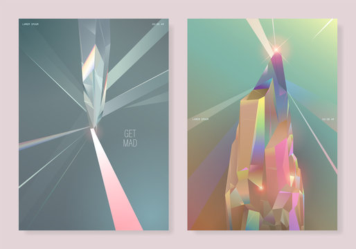 2 type pastel crystal poster design template