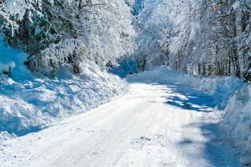 Road to Fusine Lakes in winter