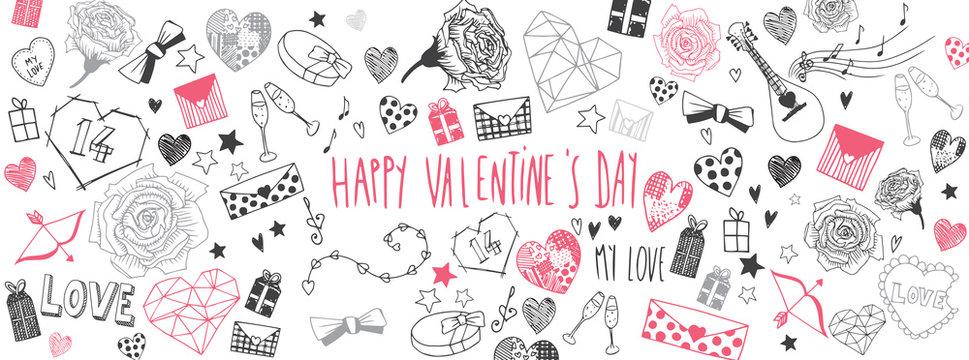 Valentines day doodles background