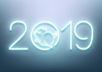 Happy New 2019 Year of the Pig, neon text and cute animal, vector illustration