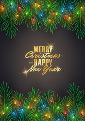 Merry Christmas decorative background with fir tree branches and led lights garland wreath, vector illustration