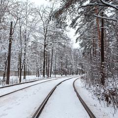 Tram line through winter Kiev city, Ukraine.