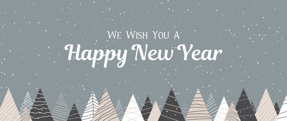Happy New Year banner with creative fir trees and snow.