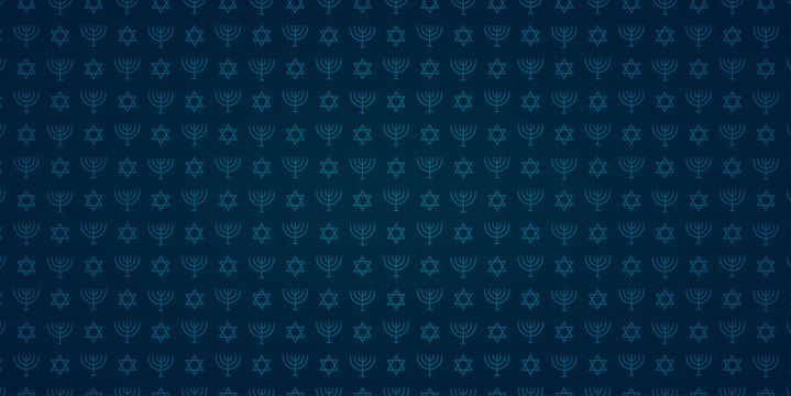 Blue seamless pattern with traditional menorah and jewish stars for Happy Hanukkah holiday.