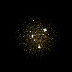 Stardust gold. Particles shimmer brilliance. Glowing stars. Decoration for new year's Christmas holiday, confetti. Vector overlay element, isolated dark background.