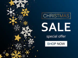 Christmas sale promo poster with shiny snowflakes. Special offer.