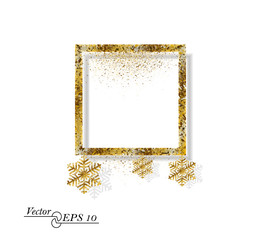 Gold abstract square with snowflakes. Falling gold dust on white isolated background. Vector frame for new year, Christmas. Decorative element with the possibility of overlay.