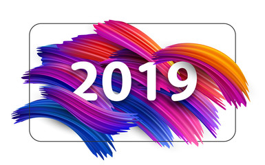 New Year 2019 greeting card with colorful brush strokes.