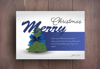 Christmas Card Layout with Bow and Blue Accents