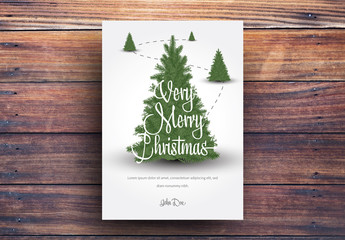 Christmas Card Layout with Christmas Trees