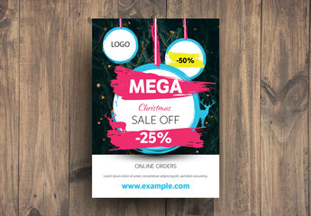 Christmas Sale Advertisement with Paint Stroke Elements