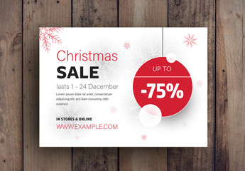 Christmas Sale Advertisement with Snowflake Elements