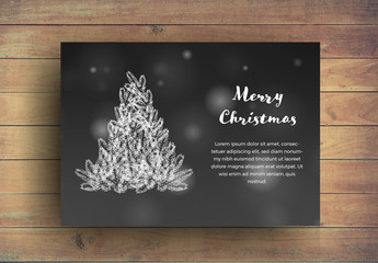 Christmas Card Layouts with Tree Illustration