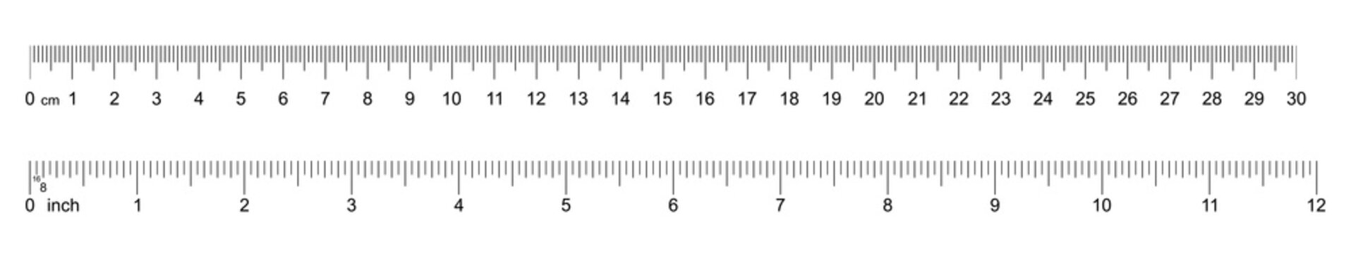 Ruler 30 cm, 12 inch. Set of ruler 30 cm 12 inch. Measuring tool. Ruler scale. Grid cm, inch. Size indicator units. Metric Centimeter, inch size indicators. Vector