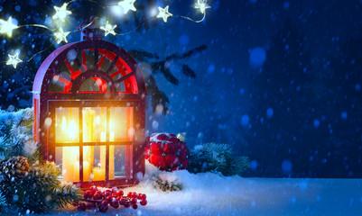 Christmas midnight Light; holidays background with Christmas decoration and Christmas Tree light