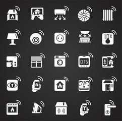 Smart home icons set on black background for graphic and web design, Modern simple vector sign. Internet concept. Trendy symbol for website design web button or mobile app.