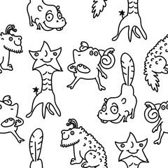 Cute  monsters. Black and white funny monster illustration for kids, boys, girls. Vector pattern for pyjamas, textile, fabric, t-shirt, underwear