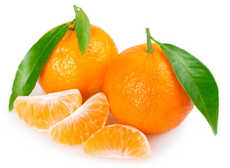 Fresh mandarin with leaf on white background