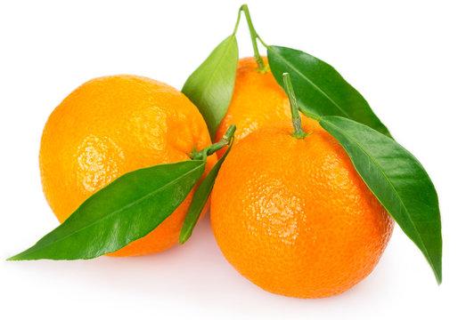 Fresh mandarine with leaf on white background