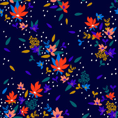 Seamless Floral Pattern. Fashion textile pattern with decorative little flowers and leaves on midnight blue background. Vector illustration.