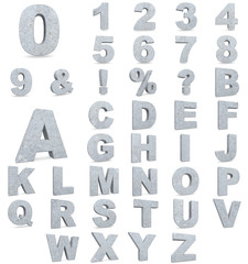 Alphabet of concrete letters and numbers. 3D render Illustration