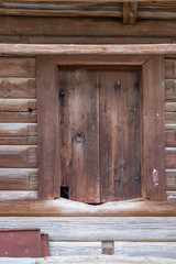 the door of the old barn in the Chuvash village Chuguevo in Russia,shot fall day