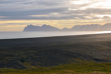 Ocean and mountains, amazing landscape of the East Fjords in Iceland