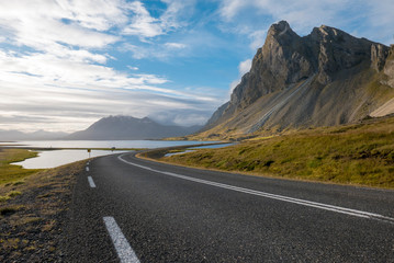 Amazing landscape on the road in the East Fjords in Iceland