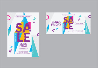 Sale Social Media Feed Layout with Colored Triangle Elements