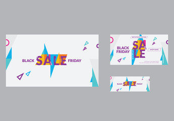 Sale Social Media Cover And Post Layout with Colored Triangle Elements