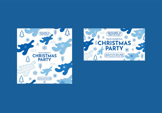 Christmas Social Media Feed Layout with Snowflake and Christmas Tree Elements