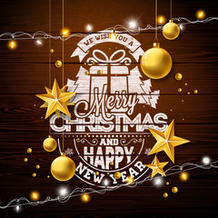 Merry Christmas Illustration with Gold Glass Ball, Lights Garland and Typography Elements on Vintage Wood Background. Vector Holiday Design for Greeting Card, Party Invitation or Promo Banner.