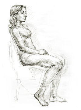 Academic figure drawing of a young girl