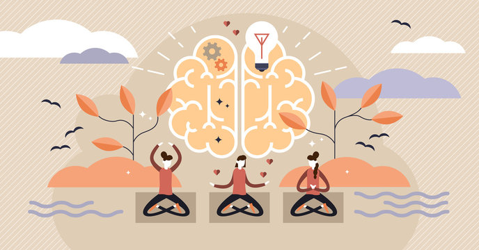Mindfulness vector illustration. Mentally healthy exercise with yoga pose.